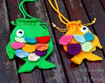 Fish String Purse for Kids knitting pattern PFD download, for beginners and advanced knitters, DIY gifts for kids
