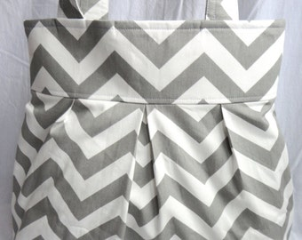 Chevron diaper bag, purse large pleated with grey and white chevron amy butler green polka dot with bottle pockets