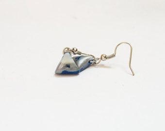 Polymer clay earrings Blue earrings Fluorescent earrings Geometric earrings Silver earrings Triangle earrings Dangle earrings Simple Casual