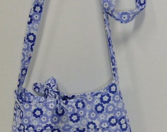 Cross body  purse bag - blue floral - small - crossover purse