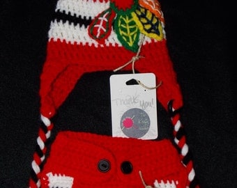 Chicago Blackhawks Beanie with Matching Diaper Cover