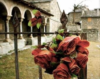 Fine Art Photography, Wall Art, Wall decor, Roses, cemetery, church