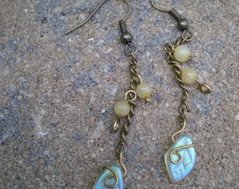 Wire Wrapped Leaf Earrings