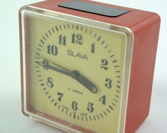 SALE Working Vintage Russian Мechanical Alarm clock Slava From Soviet Union Period Red Alarm Clock, CCCP