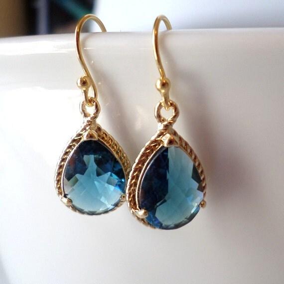 montana blue and gold chandelier earrings blue earrings