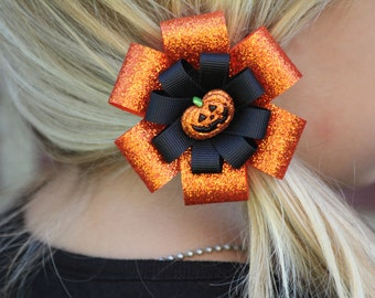 Halloween Glitter Orange Pumpkin Hair Bow - Halloween Hair Clip - Halloween Hair Accessory - Pumpkin Hair Clip - Pumpkin Hair Bow - Pumpkin