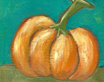 Painterly Pumpkin - Fine Art PRINT of Acrylic Painting - Autumn Fall Country Cottage Farmhouse Decor