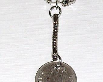 1970 5p Five Pence Cúig Phingin Irish Coin Keyring Key Chain Fob 47th Birthday