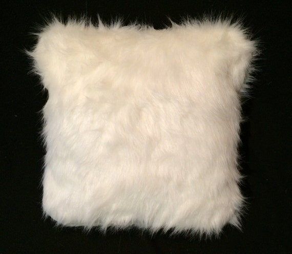 Off white faux fur throw pillow cushion cover by for White faux fur pillow