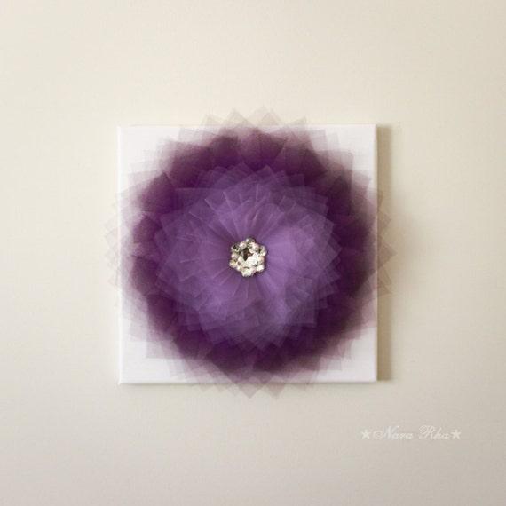 Dark purple flower decorative art wall hanging home by nararha for Room decor embellishment art 3d