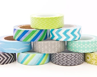 Washi Tape Lucky Dip - 5 Rolls of Cool Washi Tape 50 metres total - Washi Tape Set in Australia