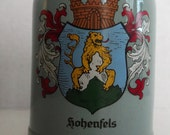 Vintage Transferware German Beer Stein Hohenfels Heavy Sturdy Sovenir Base PX 1970s