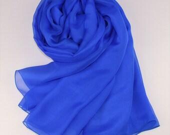 Royal Blue Silk Scarf - Crystal Blue Mulberry Silk Chiffon Scarf - AS12