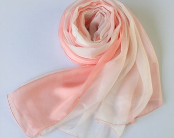 Pink Gradient Color Silk Scarf - Pink Silk Chiffon Scarf - AS60