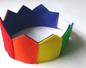 Eco Friendly 100% Wool Dress up Crown, Play Crown, Pretend Crown, Birthday Crown, Rainbow Crown, Princess Crown, Party Hat, Photo Prop