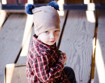 Toddler's Hat, Boys Jersey Beanie, Beige Pom Pom Hat, Stretchy Cotton Hat