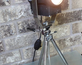 Home Theater Decor - Mini Stage light - Vintage Sunset Tripod Tabletop Lamp - spot light