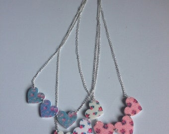 Three heart handmade necklace with floral Cath Kidston style print pink white or blue kitsch cottage cute
