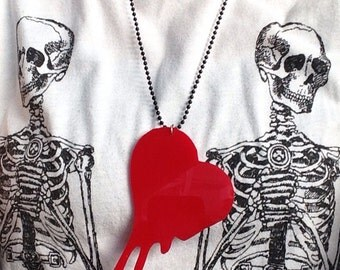 You melt my heart pendant necklace perspex acrylic laser cut red heart tatty