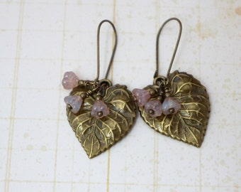 50% OFF Earrings, Detailed brass leaf with flower dangle earrings 1