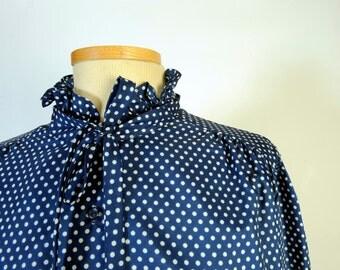 Vintage Navy White Polka Dot Ruffle Neck Blouse size Large