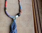 Long ethnic beaded tassel necklace, seed beads, tribal inspired/ boho necklace
