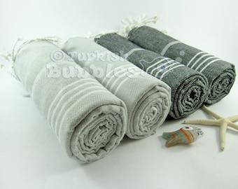 Cotton Turkish Bath Towel, Towel Set of 4, Turkish Towel, BEACH Towel, Peshtemal,  Hammam Towel, Fouta Towels, Bridesmaid Gift, Gift For Him