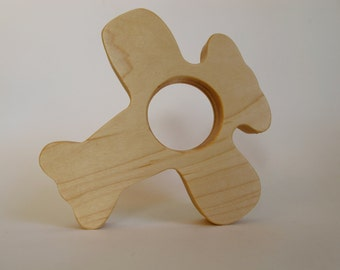 Wood Toy -  Airplane Teether- organic, safe and natural for baby