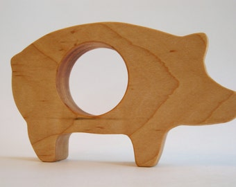Wood Toy -  Pig Teether- organic, safe and natural for baby, farm
