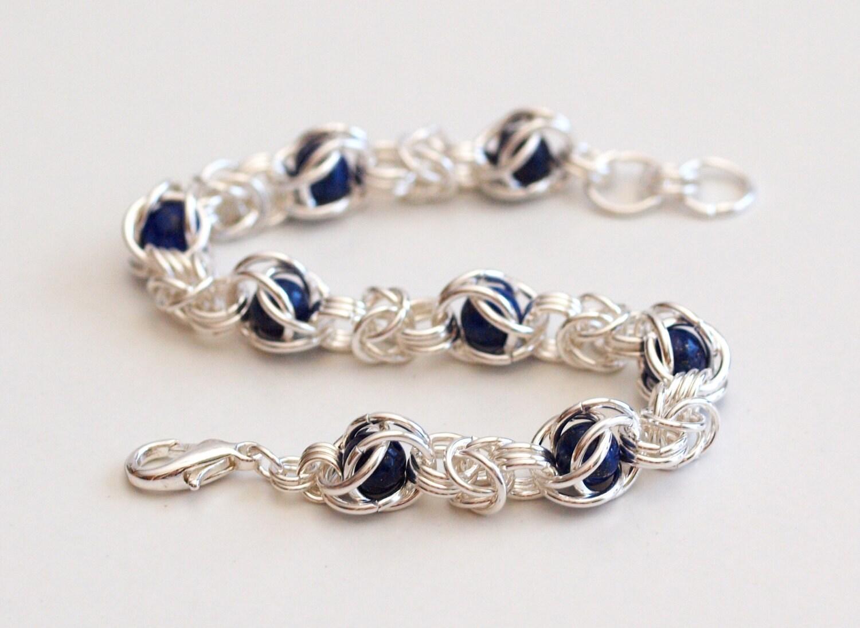 Caged Bead Bracelet Lapis Lazuli Bracelet Chainmail