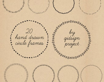 20 hand drawn circle frames  doodle round borders  digital frames clipart personal and commercial use instant download