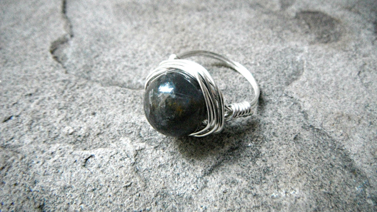 gray iolite ring gray ring gray ring wire wrapped