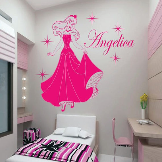 Items similar to disney princess auroroa with custome name for Disney princess wall mural stickers