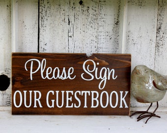 PLEASE SIGN our GUESTBOOK 5 1/2 x 11 Self Standing Sign /  Rustic Wedding Signs