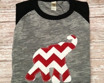 Alabama Crimson Tide Appliqued Raggedy Elephant  3/4 T-shirt