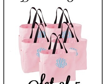 Monogrammed Bridesmaid Tote Bags - Set of 5 - Mix and Match Colors