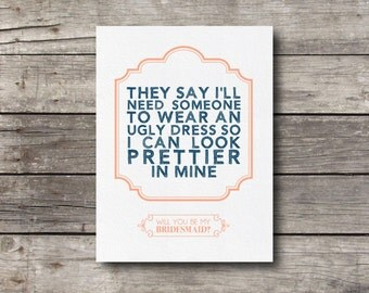 Will you be My Bridesmaid Card - Customizable - Printable