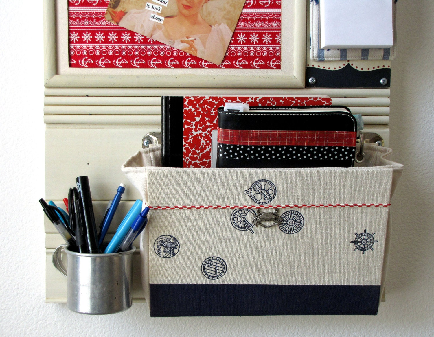 Bulletin board mail organizer nautical wall by salvagedsanity for Wall mail organizer with cork board