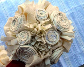 """Wedding Bouquet, Rustic, Bridal, Vintage, Cotton, Fabric Flower Bouquet, Country, Shabby Chic 8"""""""