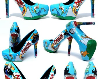 Adventure Time Heels hand painted  with Swarovski Crystals