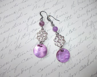 Violet purple mother of pearl dangling earrings