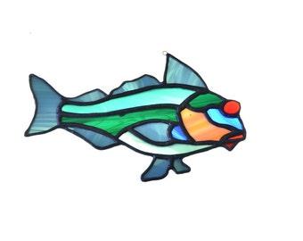 Stained glass fish salmon suncatcher, window ornament, hanging home decor green blue orange colour