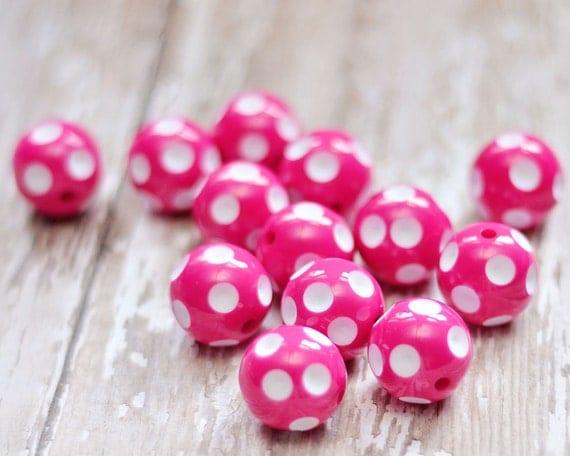 hot pink polka dot beads 20mm 20pcs large by modbabydesigns. Black Bedroom Furniture Sets. Home Design Ideas
