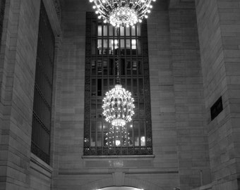 New York Photography, 5X7 Fine Art Print, Grand Central Station, lights, window, archway, black and white home decor