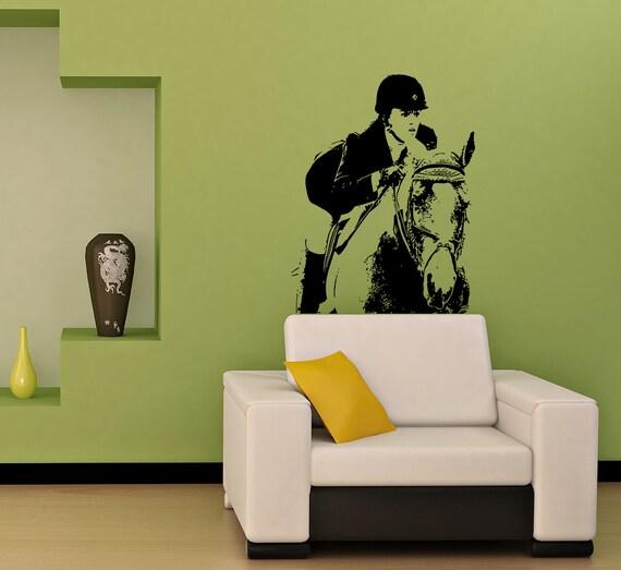 Items similar to mur de vinyle autocollant la fille sur le for Decoration chambre cheval