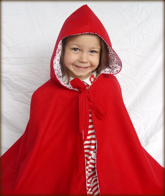 Red Riding Hood Cape, 100% Red Wool, Fully-lined with cotton calico print- Made to Order