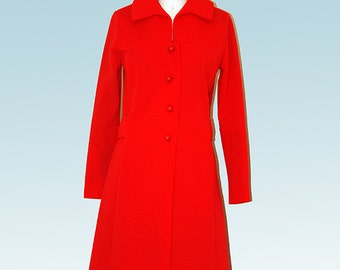 Late 1960s - Red Polyester Dress
