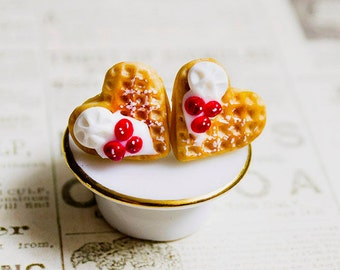 Waffle earrings miniature food