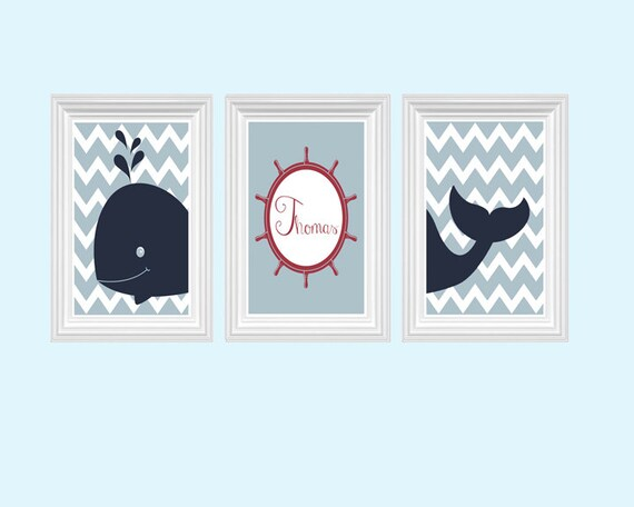 Etsy Personalized Wall Decor : Whale art nursery decor personalized name red navy blue wall