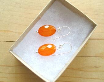 Orange drop earrings, Tangerine Orange earrings